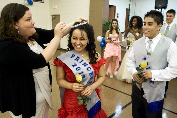Angel Pitts is crowned Princess of the Anderson Preparatory Academy Prom held Saturday May 4 at the MillCreek Center in Chesterfield. Looking on is Frank Rodriquez who was named Prince. Photo by Richard Sitler