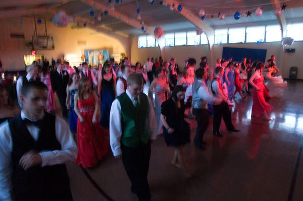 Line dancing at the Anderson Preparatory Academy Prom held Saturday May 4 at the MillCreek Civic Center in Chesterfield. Photo by Richard Sitler