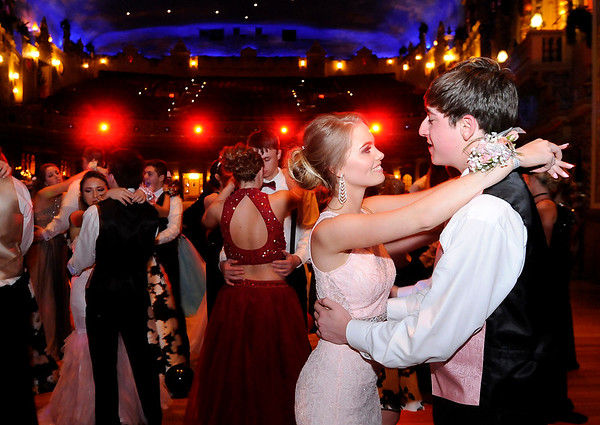 Don Knight | The Herald Bulletin<br /> Valerie Porter and Evan Baker slow dance during Daleville's prom at the Paramount on Saturday.