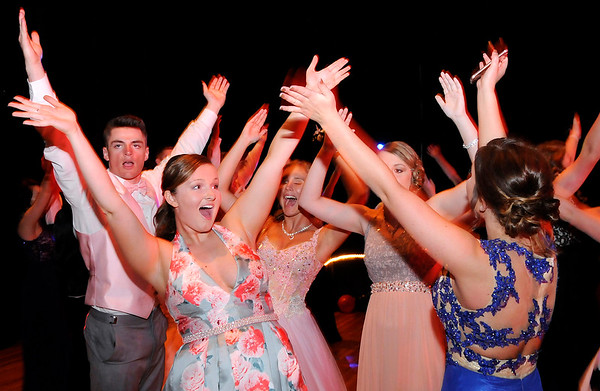 "Don Knight | The Herald Bulletin<br /> Students dance to the Village People hit ""YMCA"" during their prom on Saturday."