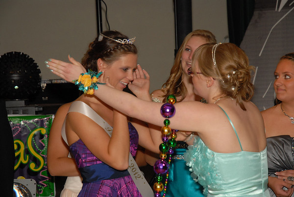 Ellie Fettig (left) is crowned Queen at the Elwood Prom.