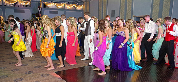 "Doing the ""Cupid Shuffle"" at the Elwood High School ""Enchanted Garden"" Prom."