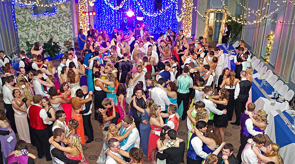 """The Blue Room of the historic Elwood Opera House was transformed into an """"Enchanted Garden"""" for the Elwood High School Prom on May 3 2014."""