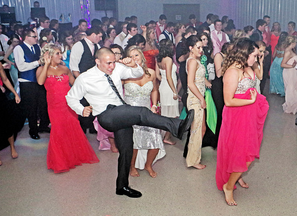 Attendees at the Frankton High School Prom showing off their moves on the dance floor.