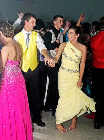 """Conner Bates and Emily Benefiel dancing to the music during the Frankton High School """"Once Upon a Time"""" Prom on April 26, 2014."""