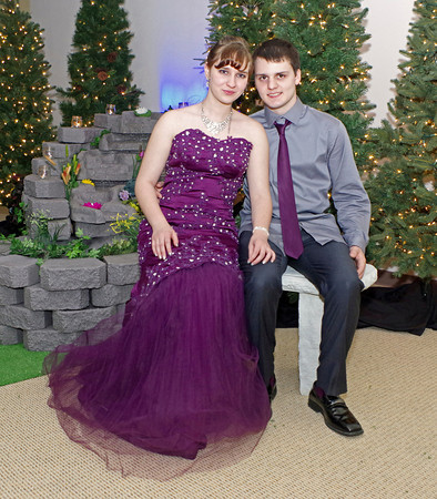 Allison Correll and Noah Williams sharing a moment in the fountain garden during the Frankton High School Prom on Saturday night.