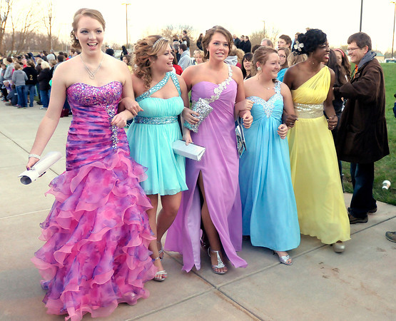 From left, Devon Bodenhorn, Rachel Lehman, Hunter Wilson, Makalah Hanes and Prisca Sakeuh arrive at the Lapel Prom on Saturday.