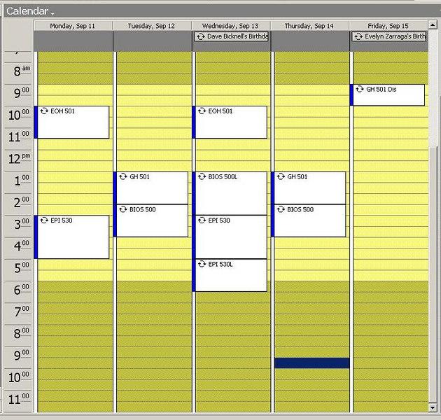 Fall Semester Schedule