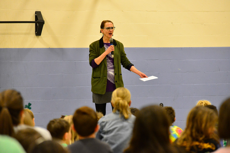"""KRISTOPHER RADDER - BRATTLEBORO REFORMER<br /> Ellen Tumavicus, illustrator of """"Ralph Flies the Coop,"""" talks to a group of students at Putney Central School on Friday, March 17, 2017."""