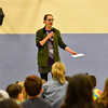 "KRISTOPHER RADDER - BRATTLEBORO REFORMER<br /> Ellen Tumavicus, illustrator of ""Ralph Flies the Coop,"" talks to a group of students at Putney Central School on Friday, March 17, 2017."