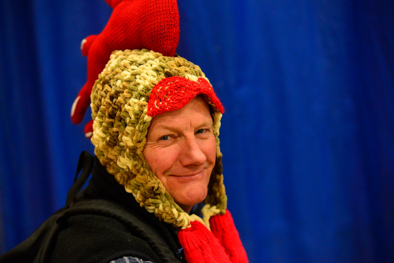 """KRISTOPHER RADDER - BRATTLEBORO REFORMER<br /> Putney Central School Principal Herve Pelletier dresses up as a rooster during an assembly for """"Ralph Flies the Coop,"""" on Friday, March 17, 2017."""