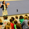 "KRISTOPHER RADDER - BRATTLEBORO REFORMER<br /> Jamie Scanlon, author of ""Ralph Flies the Coop,""  asks a group of students at Putney Central School how to say hello in different languages on Friday, March 17, 2017."