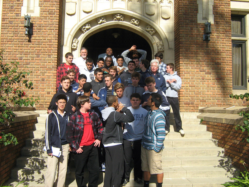 Final group photo on front steps of Loyola Hall.   Friday, December 2, 2011
