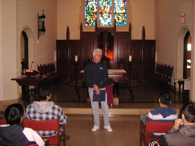 Mr. Michael Mason informs the retreatants about upcoming activities, Friday, December 2, 2011