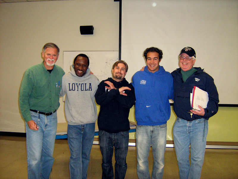 Adult leaders with Director of Campus MInistry Mr. Matt Schaffer, second from right. Mr. Dave McClave, Mr. Ike Udoh, S.J. , Mr. Jim Crofut, and on end Mr. Michael Mason.