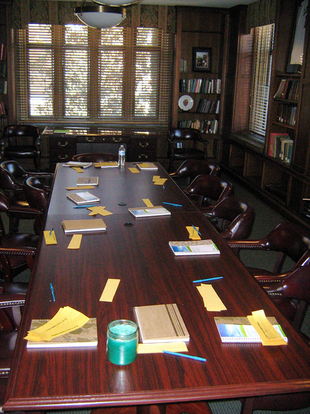 Table in board room of residence