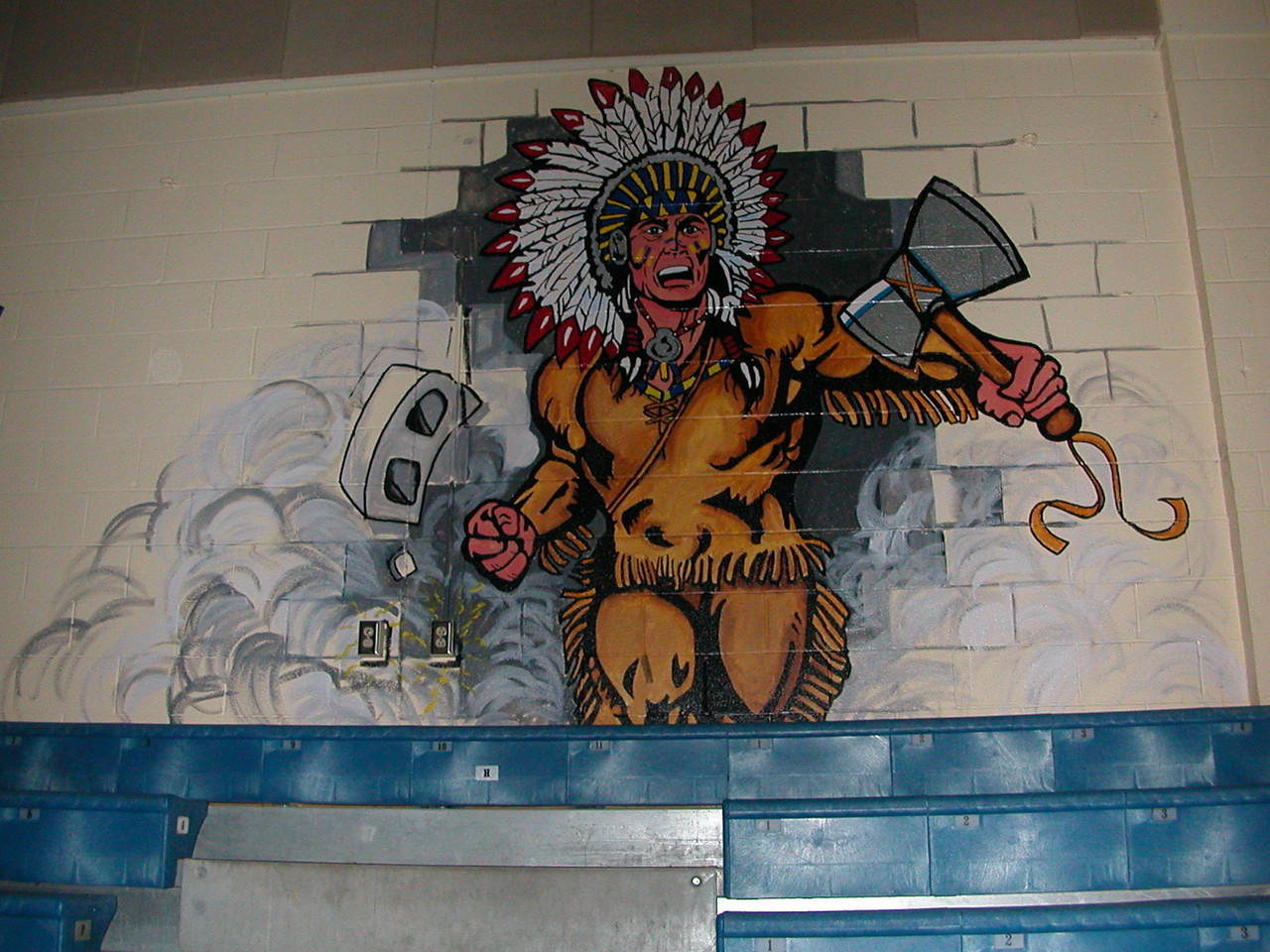 Raider logo in gym.  I know a few towns that would get upset over this.  Thank god we still have some common sense in Pittsburgh.