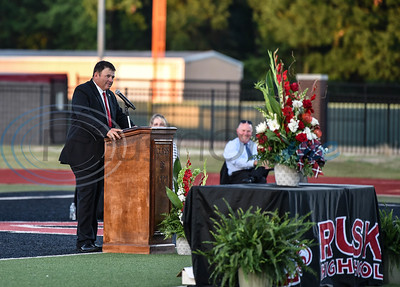Rusk High School Principal Ronny Snow addresses seniors at the school's graduation ceremony on Friday, June 5.