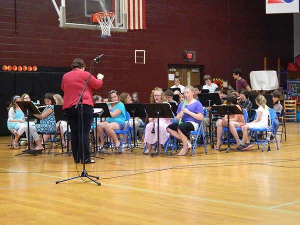 SDES fifth and sixth grade band performing at the Fine Arts Spring Fling.