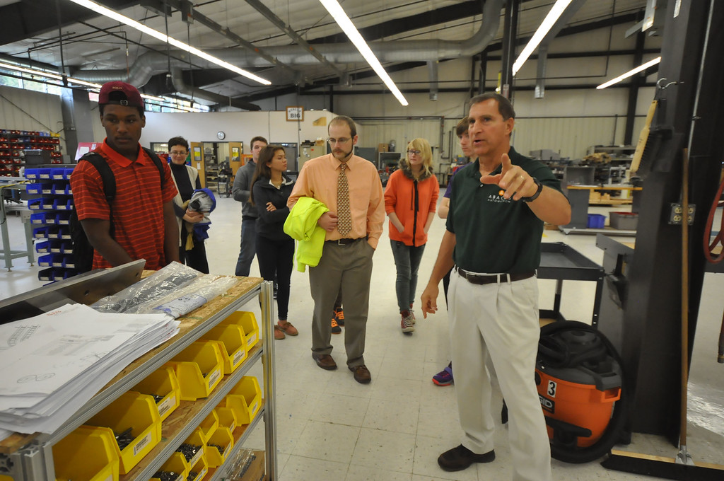 ". Abacus Automation Vice-President Richard ""Dixie\"" Zens Jr. gives a tour of the floor to students from Katy Schonbeck\'s Geometry class at Mount Anthony Union High School. The field trip is a part of Learning Beyond the Classroom effort where students visit a workplace for a tour and demonstration. Wednesday, October 14, 2015. Gillian Jones � Bennington Banner"