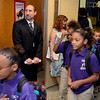 School Principal Jason Goldner watches students walk to their classrooms on the first day of school. Troy's School 2 started a new school year with a new Principal, school uniforms and new hours from 7:30AM to 4:30PM.  Thursday 09/05/13 (Mike McMahon/The Record)