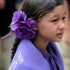 Samalya Montalvo, age 6 in the first grade, accessorized with a purple flower in her hair. Troy's School 2 started a new school year with a new Principal, school uniforms and new hours from 7:30AM to 4:30PM.  Thursday 09/05/13 (Mike McMahon/The Record)