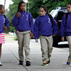 L-R Kaliyah Wilson, Serena Bowman, Haileigh Wilson and Kaylee Cruse arrive at School 2 in Troy. Troy's School 2 started a new school year with a new Principal, school uniforms and new hours from 7:30AM to 4:30PM.  Thursday 09/05/13 (Mike McMahon/The Record)