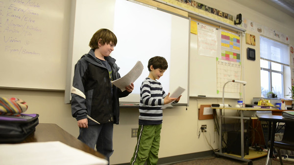 """Ryan and his partner Brandon present their """"Persuasive Essay"""", selling customers on a product they imagined and designed. Ryan did the writing, which passed through many levels of re-write and editing."""