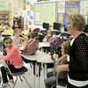 MIKE McMAHON - MMcMAHON@DIGITALFIRSTMEDIA.COM, Principal Terri Obrien, celebrating her 10th year, welcomes back 6th grade students on tke first day of school at Watervliet Elementary , Wedesday September 3, 2014.