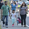 MIKE McMAHON - MMcMAHON@DIGITALFIRSTMEDIA.COM, Kindergarden student Sofiya Das walks to school with her parents Andrew and Bibi Das on first day of school at Watervliet Elementary , Wedesday September 3, 2014.