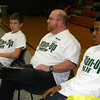 Alice Robertson eighth-grade principal Brian Doerner gets a small group discussion going with AR eighth-graders including Bayley Scoggins, left, and Devin Hillmon. The discussions were part of a Boys Bash motivational assembly held Tuesday at AR.