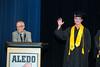 "Valedictorian Cody Bradford shows the ""SicEm"" Baylor Bear sign."