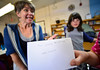 Susanna Olson, teaching artist for the Flynn Center for the Performing Arts, acts out Shakespearean insults that children from the Marlboro School wrote on Friday, Sept, 30, 2016.  Kristopher Radder / Reformer Staff