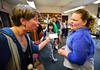 Susanna Olson, teaching artist for the Flynn Center for the Performing Arts, and Althea Holzapfel, 12, in six grade at the Marlboro School, acts  out Shakespearean insults on Friday, Sept, 30, 2016.  Kristopher Radder / Reformer Staff