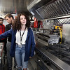 Shawsheen Tech culinary students in the school's recently acquired food truck. Front to rear: sophomore Emma Caswell of Tewksbury, senior Anthony DiCesare of Tewksbury and senior Cameron Sousa of Wilmington. (SUN/Julia Malakie)