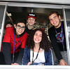 Shawsheen Tech culinary students in the school's recently acquired food truck. From left, senior Cameron Sousa of Wilmington, sophomore Jonn Durfee of Bedford, sophomore Emma Caswell of Tewksbury, and senior Anthony DiCesare of Tewksbury. (SUN/Julia Malakie)