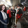 Shawsheen Tech culinary students in the school's recently acquired food truck. From left, sophomore Emma Caswell of Tewksbury, senior Cameron Sousa of Wilmington, senior Anthony DiCesare of Tewksbury and sophomore Jonn Durfee of Bedford. (SUN/Julia Malakie)