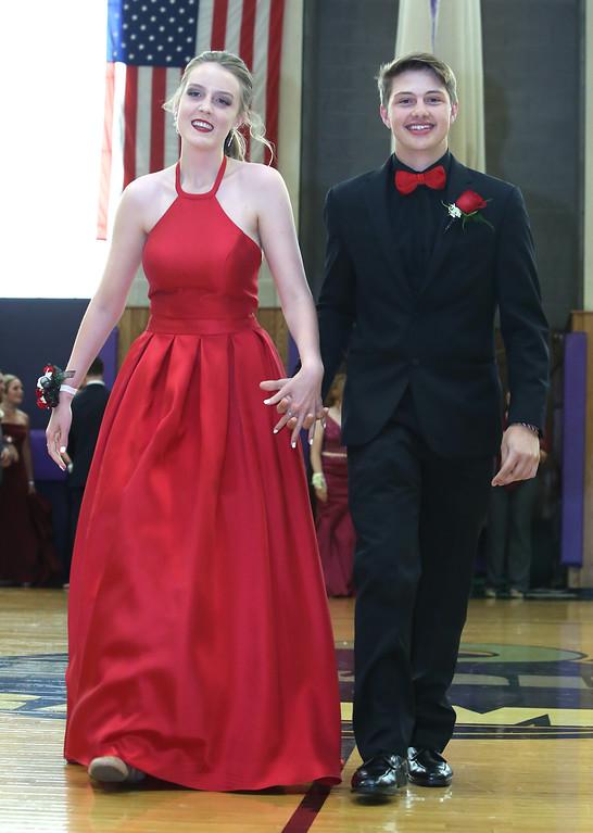 . Pre-prom procession at Shawsheen Tech. (SUN/Julia Malakie)