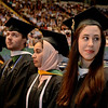 Emily A. Scimeca at right looks for family in the stands at Siena College commencement at the Times Union Center in Albany, Sunday  May 18,  2014 (Mike McMahon - The Record)