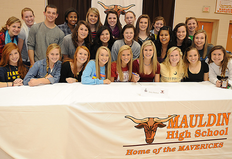 Mauldin High School recognized seven student athletes that signed National Letters of Intent to continue their careers in college. <br /> Gina Cardenas - soccer - UNC - Greensboro, Haley Dunham - soccer - Troy State University, Emily Praktish - soccer - Samford, Tera Dolan - soccer- Anderson College, CJ Asmus - lax - Ferrum College, Chris Sullivan - football - Charleston Southern, Amanda Young - lax- Columbia College<br /> GWINN DAVIS PHOTOS<br /> gwinndavisphotos.com (website)<br /> (864) 915-0411 (cell)<br /> gwinndavis@gmail.com  (e-mail) <br /> Gwinn Davis (FaceBook)