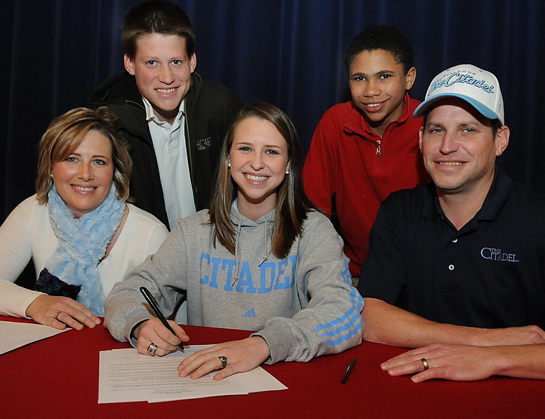 Hillcrest High School recognized five student athletes that signed National Letters of Intent to continue their careers in college. Olivia Trone signed with The Citadel to run Cross Country, Kiah Cheatum signed with Troy University to play volleyball, and football standouts Dee Harris signed with North Carolina Central, David Martin signed with Benedict College and Brandon Leaks signed with Lehigh University.<br /> GWINN DAVIS PHOTOS<br /> gwinndavisphotos.com (website)<br /> (864) 915-0411 (cell)<br /> gwinndavis@gmail.com  (e-mail) <br /> Gwinn Davis (FaceBook)
