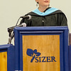 Executive Director Courtney Harter addresses the graduates during the commencement ceremony at the Sizer School on Thursday evening. SENTINEL & ENTERPRISE / Ashley Green