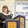 Humanities teacher Pam Sweeney addresses the graduates during the commencement ceremony at the Sizer School on Thursday evening. SENTINEL & ENTERPRISE / Ashley Green