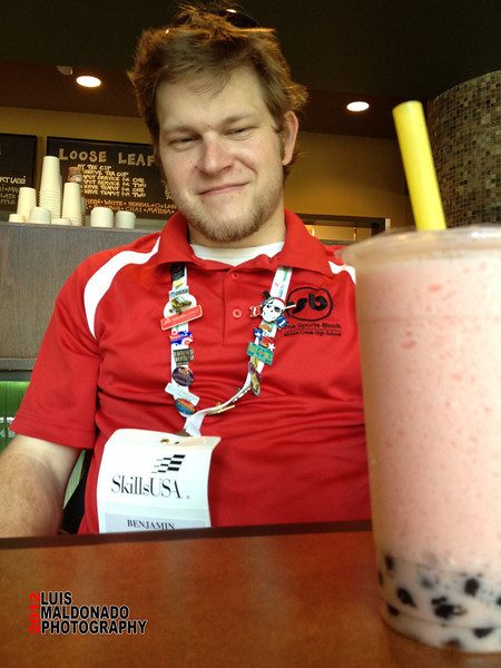 Ben contemplating the intricacies of Bubble Tea.