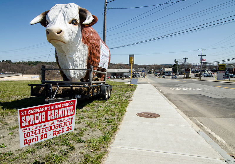 A large bull sculpture rests on Summer Street in Fitchburg to promote the St. Bernard's Spring Carnival, which starts Wednesday, April 20th. The carnival will run Wednesday 5-10 pm, Thursday 2-10 pm, Friday 2-11 pm, Saturday 1-11 pm and Sunday 1-10 pm, with fireworks on Saturday evening. SENTINEL & ENTERPRISE / Ashley Green