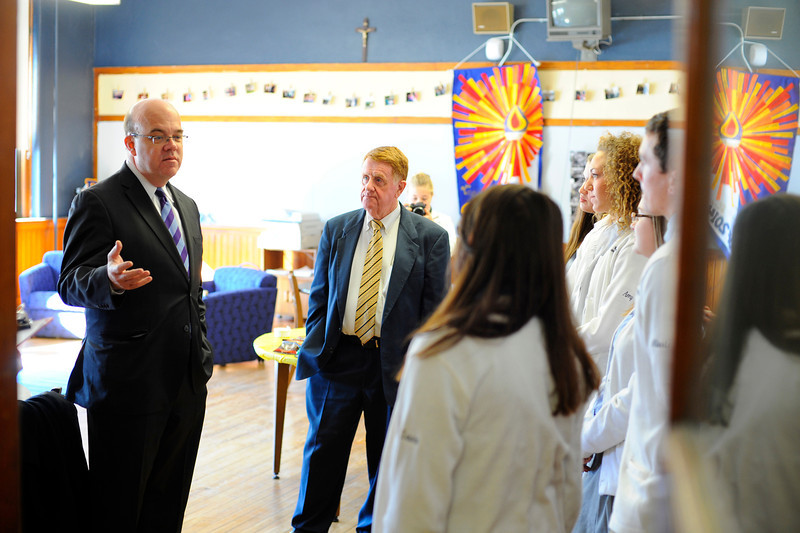 U.S. Rep. Jim McGovern (left) talks to St. Bernard's High School National Honor Society students with Headmaster James Conry (center) on Thursday before an assembly about national hunger, Thursday in Fitchburg.<br /> SENTINEL & ENTERPRISE / BRETT CRAWFORD