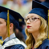 Taylor Atkinson listens to speakers during the 90th commencement ceremony at St. Bernard's on Friday evening. SENTINEL & ENTERPRISE / Ashley Green