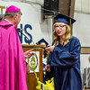 Taylor Atkinson receives her diploma during the 90th commencement ceremony at St. Bernard's on Friday evening. SENTINEL & ENTERPRISE / Ashley Green
