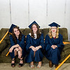 Haley Brennan, Caroline Anderson and Taylor Atkinson wait for the start of the graduation ceremony at St. Bernard's on Friday evening. SENTINEL & ENTERPRISE / Ashley Green