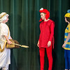 St. Leo's students Ryan Loiselle as King Tritan, Srah Whittier as Sebastian and Gianna Macchione as Flounder during a dress rehearsal for The Little Mermaid at the school in Leominster on Wednesday afternoon. Two showings of the musical will be held this weekend, on both Friday and Saturday at 7 pm. SENTINEL & ENTERPRISE / Ashley Green